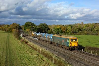 73201 leading 73119 on 3W90 Tonbridge West yard circular RHTT at Norbury Park, Leatherhead on 23 October 2020  Class73, GBRf, MoleValleyLine