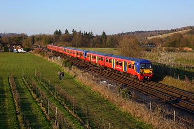 456001 leading 456023 and 455722 working 1D41 1524 London Waterloo to Dorking approaching Dorking on 27 February 2021  SWR, Class456, MoleValley