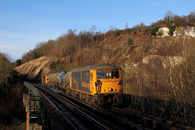 73128+73136 on the 3W90 Tonbridge West Yard circular via Brighton and Uckfield at Riddlesdown viaduct heading towards East Grinstead on the 11th Dec 2016