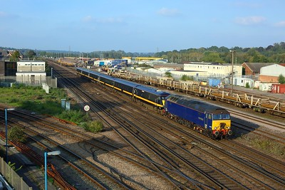 57310 leads 82201 on 5Q86 Doncaster to Eastleigh at Eastleigh East junction on 9 October 2021  Class57, ROG, SWML