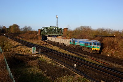59001 on the 6O12 Merehead to Woking at Worting junction on the 9th March 2020