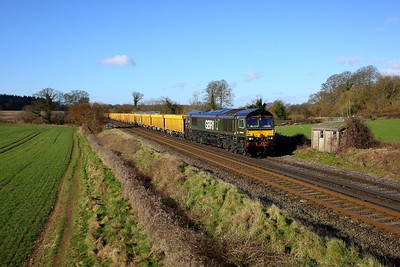 66779 working 6M26 Eastleigh yard to Mountsorrel at Oakley on 5 March 2021  GBRf66, SWML
