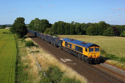 66784 powering the 4Y19 Mountfield to Southampton Western Docks 92 late at Wallers Ash on 17 July 2020  GBRf66, SWML