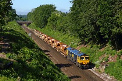 66701 working 6Y48 Eastleigh to Hoo junction at Oakley on 9 June 2021  GBRf66, SWML