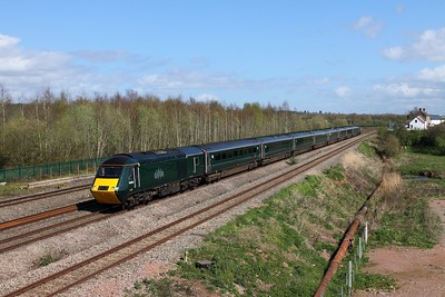 43194+43188 on the 1B28 1145 London Paddington to Swansea at Undy on the 31st March 2017