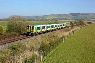 313215 working 2C49 1655 Seaford to Brighton approaching Southerham junction on 27 April 2021  Class313, Southern, SeafordBranch