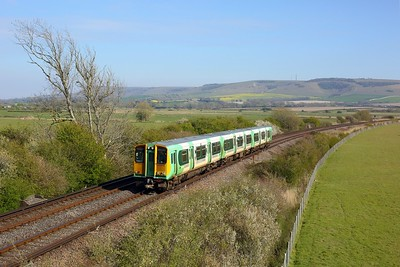 313209 working 2C47 1625 Seaford to Brighton at Southerham junction on 27 April 2021  Class313, Southern, SeafordBranch