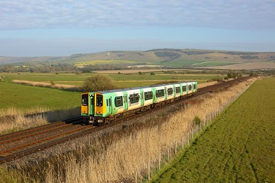 313215 working 2C55 1825 Seaford to Brighton between Southease and Southerham on 27 April 2021  Class313, Southern, SeafordBranch