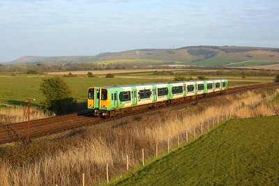 313217 working 2C57 1855 Seaford to Brighton between Southease and Southerham on 27 April 2021  Class313, Southern, SeafordBranch