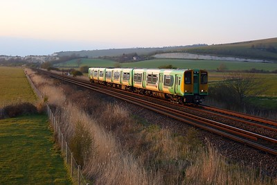 313215 working 2C56 1911 Brighton to Seaford approaching Southease on 27 April 2021  Class313, Southern, SeafordBranch