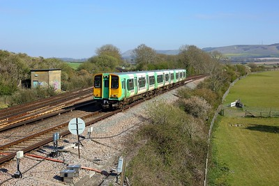 313217 working 2C45 1553 Seaford to Brighton at Southerham junction on 27 April 2021  Class313, Southern, SeafordBranch