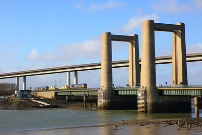 66732+66745 on the 3Y03 Tonbridge West yard circular via Margate and Sheerness, passing over the Kingsferry bridge, Swale on the 7th January 2017 2