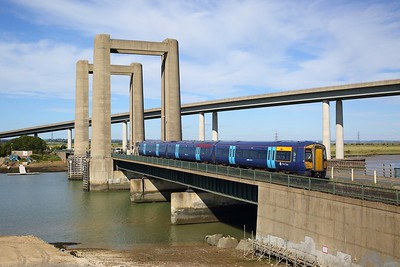 375304 working the 2D19 0855 Sittingbourne to Sheerness on Sea over Kingsferry bridge, Swale on 13 June 2020  Class375, Southeastern