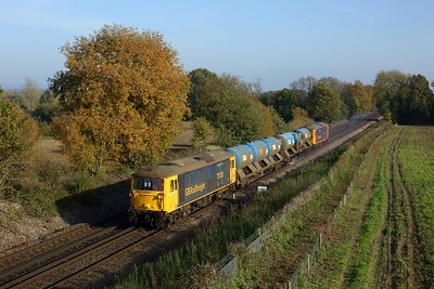 73128 leading 73109 on the 3W01 Tonbridge West yard circular via Swale at Tudeley on 7 November 2020  GBRf, Class73, RHTT, Southeasternmainline