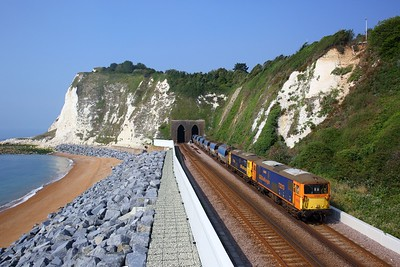 73213 leads 73128 on 4Z60 0904 Tonbridge Yard to Ramsgate exiting Shakespeare Tunnel, Dover on 13 August 2020  Class73, GBRf, SEML