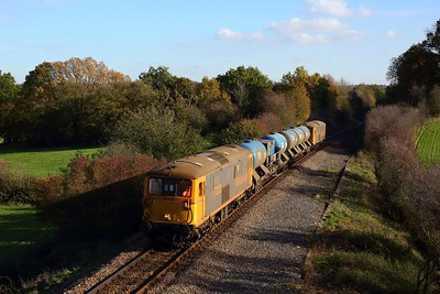 73212 leading 73141 powering the 3W90 Tonbridge West yard circular rhtt at Blackham junction returning from Uckfield on 5 November 2020  UckfieldBranch, Class73, GBRf