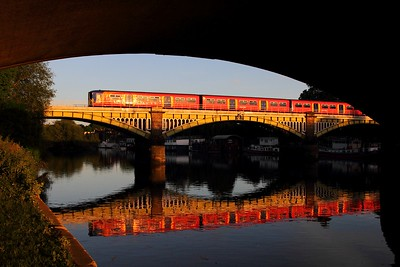 A South West Trains 455 works 2K57 1952 Kingston to Barnes at Twickenham bridge, Richmond on the 13th May 2017