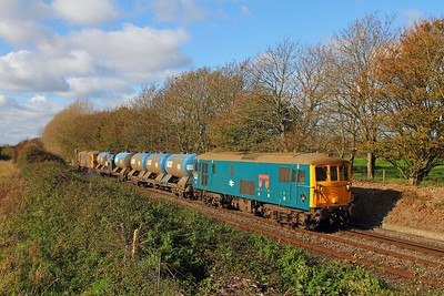 73201 tnt 73213 on the 3W91 Tonbridge West yard circular returning from Havant to Bognor Regis via Barnham at Woodhorn, Oving on the 5th November 2017