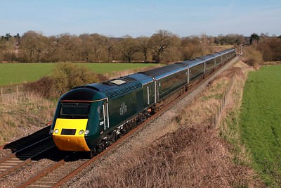 43194+43188 on the 1C83 London Paddington to Plymouth at Woodborough on the 13th March 2017
