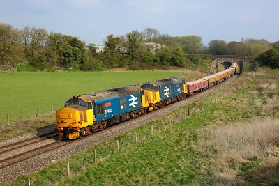 37402 leading 37407 working 6Z37 1136 Parkeston to Westbury Down at Wolfhall on 21st April 2021  Class37, DRS, BandH