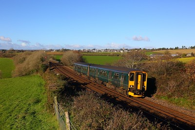 150284 on the 2P86 1141 Penzance to Plymouth at Bolitho on the 1st December 2017.