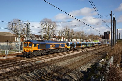 66729+332012+66746 on the 5Q32 1223 Reading Traincare depot to Old Oak Common EMU depot at West Ealing on the 29th February 2020