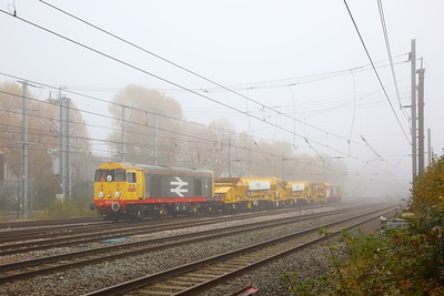 20118 tnt 20132 on the 6Z47 Wembley to West Ealing with three yellow plasser wagons at West Ealing on the 8th November 2019