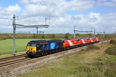 57305 leading 91129, 91113, 91126 and 91102 as 0Q76 Doncaster Belmont Down Yard to Newport Docks at South Marston on 10 May 2021, Class57, 91, GWML