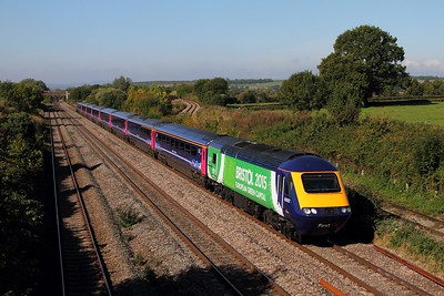 43012+43087 on the 1L55 1055 Cardiff Central to Paddington at Llandevenny on the 30th September 2015