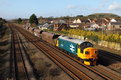 37025 on the 4B20 0837 Barry to Barry via Briton Ferry and Swindon East at Magor on the 30th January 2016 1