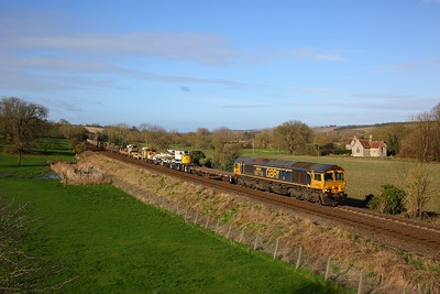 66719 on the 6O39 Westbury to Eastleigh East yard at Little Langford on the 4th February 2020