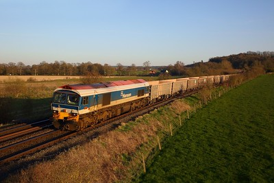 59104 on the 6V12 Woking to Merehead in the Wylye valley at Sherrington on the 23rd March 2020