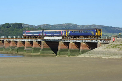 156440 leads 153358 across Kent Viaduct, Arnside as they form 2C33 1032 Lancaster-Carlisle on 08/09/2004.