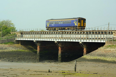153363 crosses Ravenglass Viaduct whilst working 2C43 1458 Barrow in Furness-Carlisle service on 12/05/2004.
