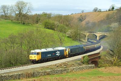 50033+50007 head the 1050 Grosmont-Pickering service at Darnholme on 23/04/2004.
