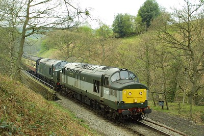 37197+37261 power uphill at Thomason Foss on 24/04/2004 with the 1150 Grosmont-Pickering service.