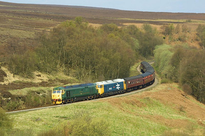 A beautiful sunny morning at Fen Bog sees 50007+50033 working the 0950 Grosmont-Pickering service on 24/04/2004.