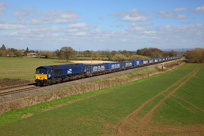 66430 on the 4V44  Daventry to Wentloog at Highnam on the 16th March 2020