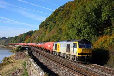 60063 on the 6B13 Robeston to Westerleigh loaded murco bogie tanks at Gatcombe on the 25th October 2010