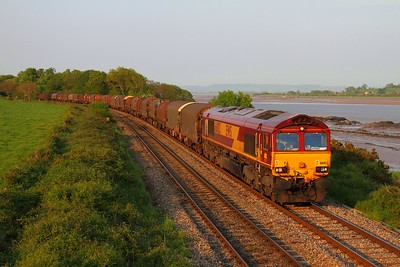 66012 at Purton with the 6V07 Round Oak to Margam empty covered steel on the 23rd May 2012