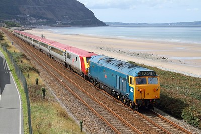50044 working 1Z50 Holyhead to London Euston at Penmaenmawr on the 4th September 2011  Class50, NorthWalesCoast
