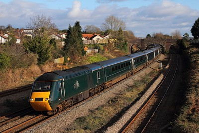 43188+43187 on the 1B25 1045 London Paddington to Swansea at Undy on the 15th January 2016