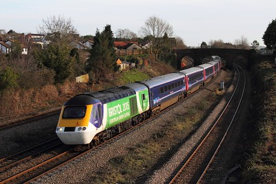 43126+43181 on the 1B15 0845 London Paddington to Swansea at Undy on the 9th February 2016