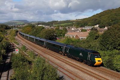 43187+43188 on the 1L76 1528 Swansea to London Paddington at Briton Ferry on the 22nd September 2015