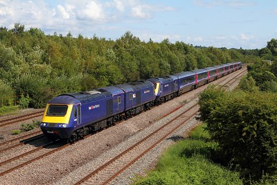 43160+43020+43021+OC41+43003 on the 5Z86 1130 Alstone C  Sidings, Cheltenham to Landore TMD, Swansea at Undy on the 3rd August 2014