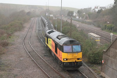 60087 on the 6Z44 Aberthaw to Lindsey departing Aberthaw on the 17th March 2017