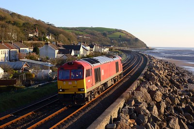 60011 working 0A11 Margam to Robeston at Ferryside on 2 April 2021  Class60, DB, WestWalesline