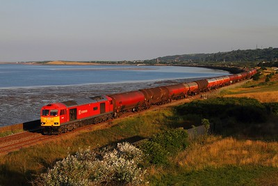 60040 on the 6B13 Robeston to Westerleigh loaded murco bogie tanks at Pwll near Llanelli on the 23rd July 2014