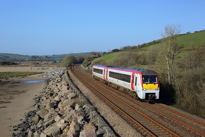 175011 working 1W73 1700 Carmarthen to Manchester Piccadilly at Ferryside on 3 April 2021  Class175, TFW, WestWalesline