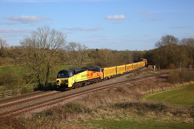 70803 on the 6M40 Westbury to Cliffe Hill Stud Farm at Hatton North junction on the 16th March 2020